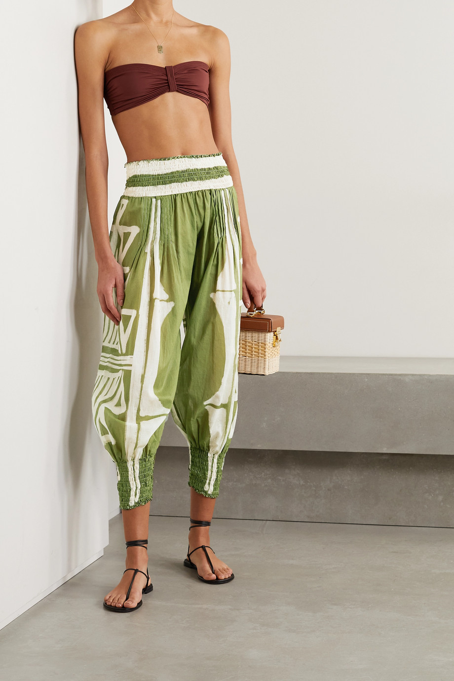 Johanna Ortiz + NET SUSTAIN Geografia Botanica cropped shirred printed organic cotton-voile tapered pants