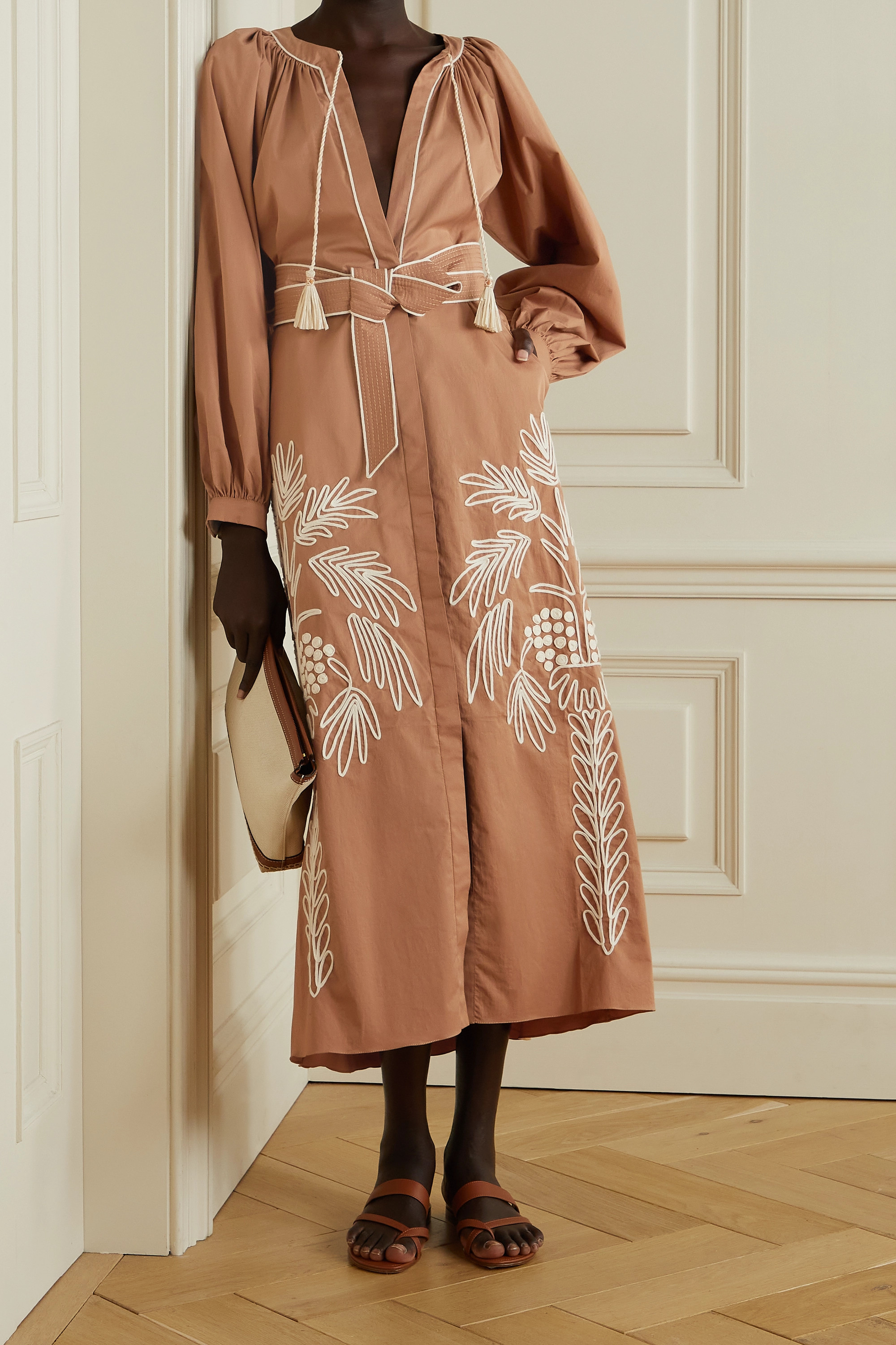Johanna Ortiz + NET SUSTAIN Expedition belted embroidered stretch cotton-blend poplin midi dress
