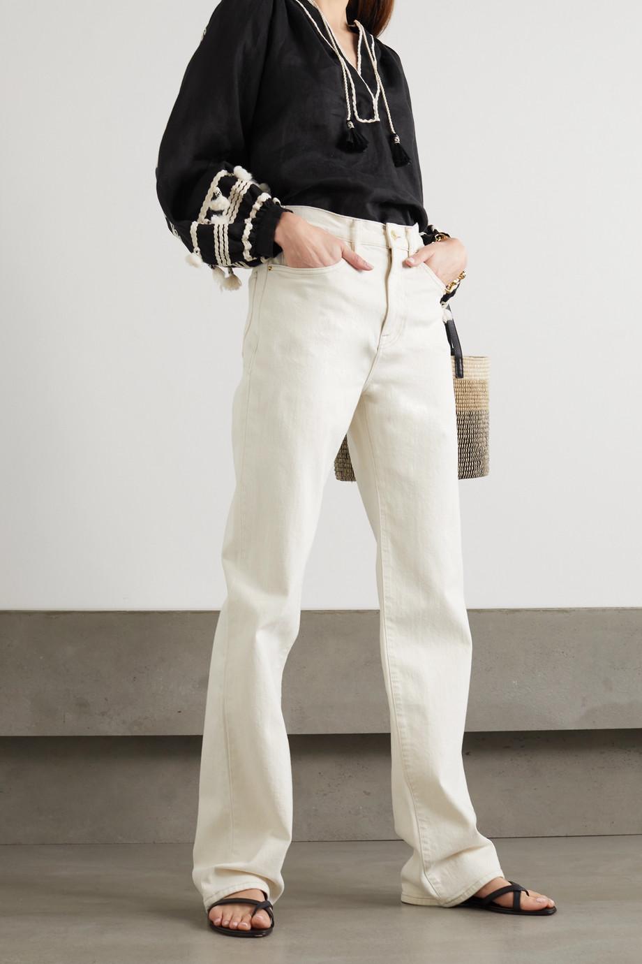 Johanna Ortiz + NET SUSTAIN Cursos Del Rio Bluse aus Bioleinen mit Stickereien und Troddeln