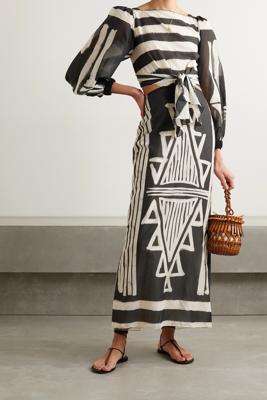 Johanna Ortiz + NET SUSTAIN Items of Value cutout printed organic cotton-voile maxi dress