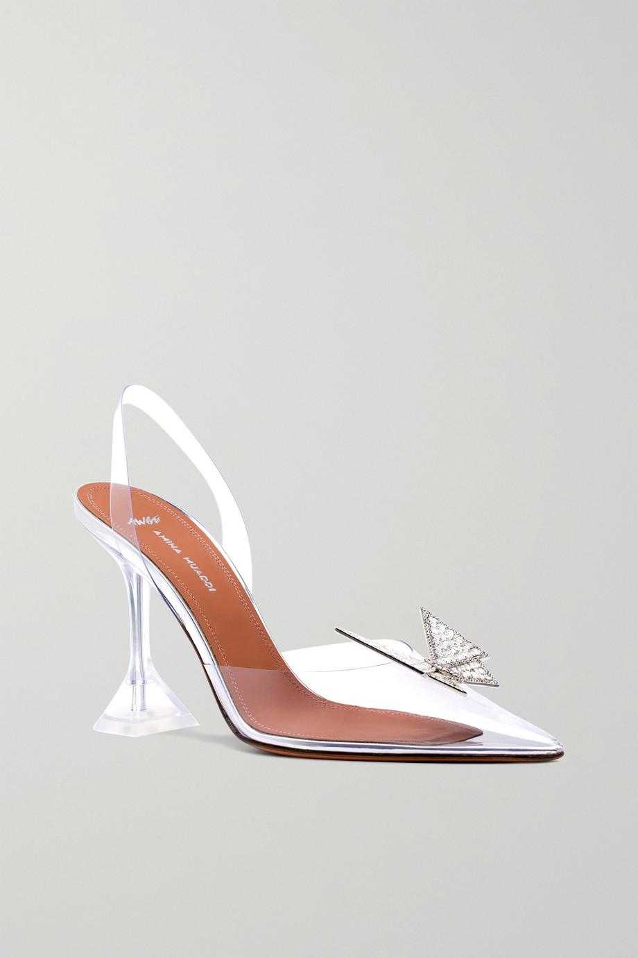 Amina Muaddi + AWGE Phoenix crystal-embellished bow-detailed PVC slingback pumps