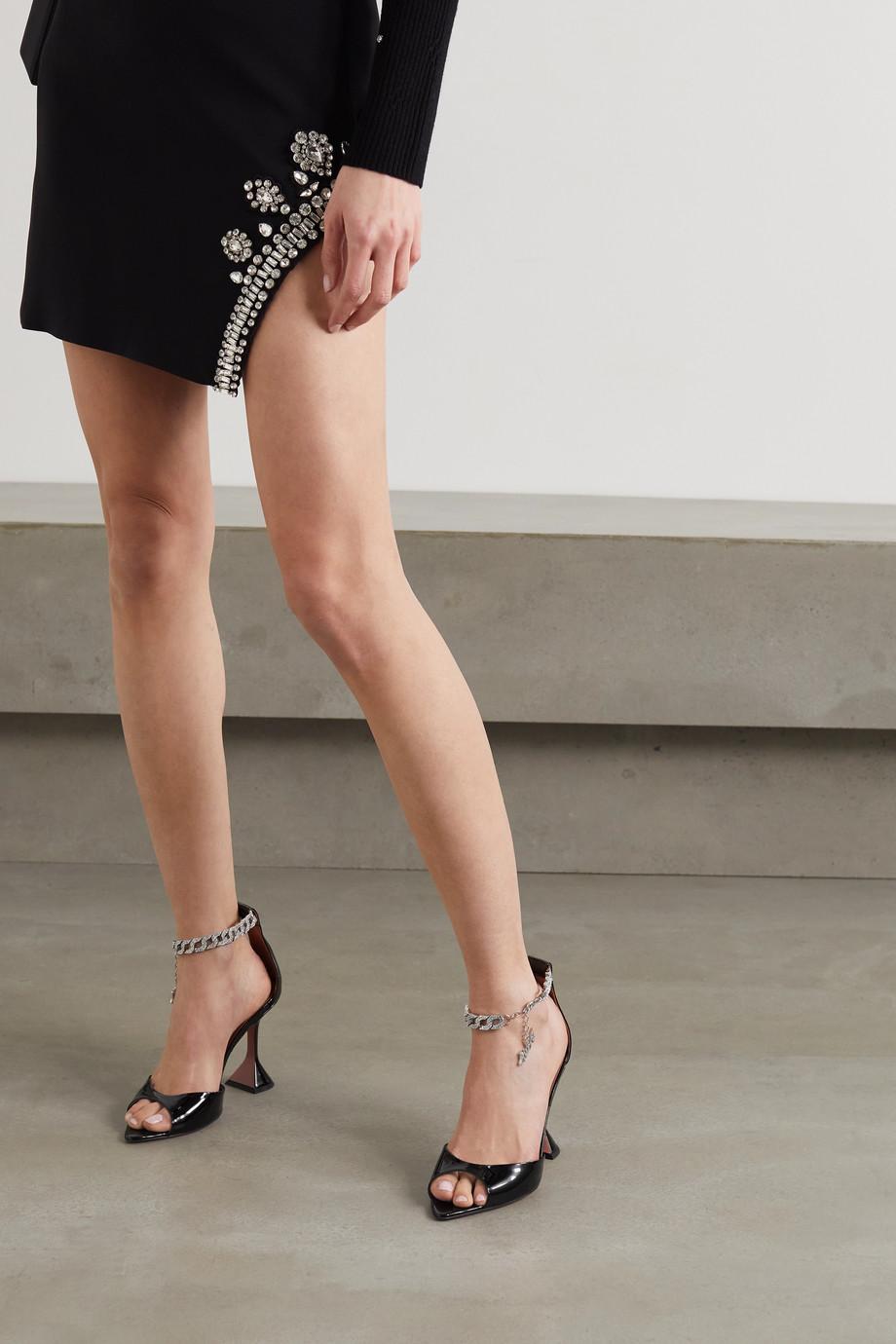 Amina Muaddi + AWGE Flacko chain-embellished patent-leather sandals