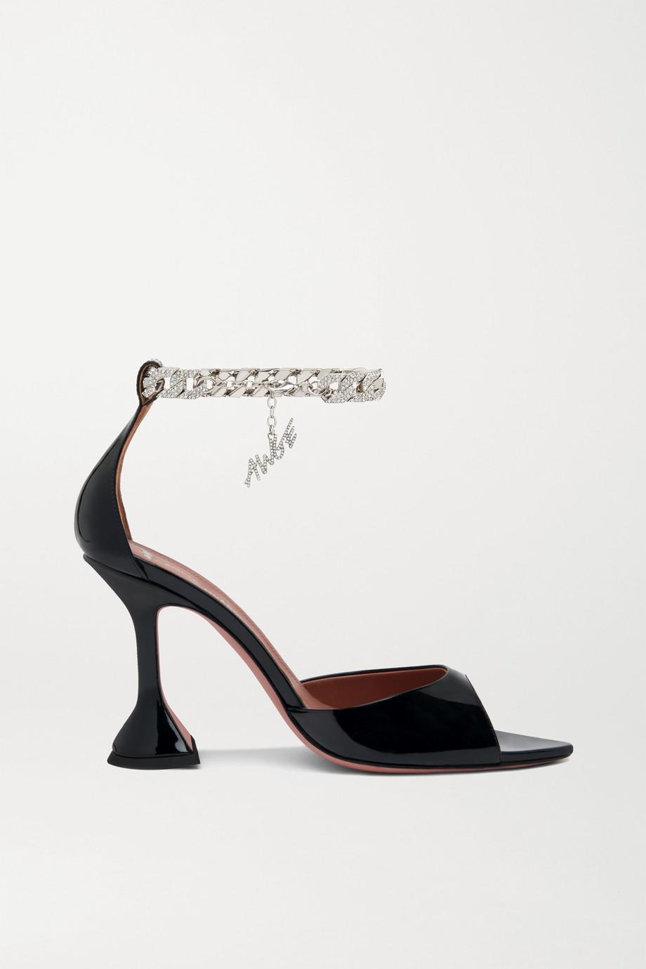 """Amina Muaddi x AWGE """"Flacko"""" 链条缀饰漆皮凉鞋"""