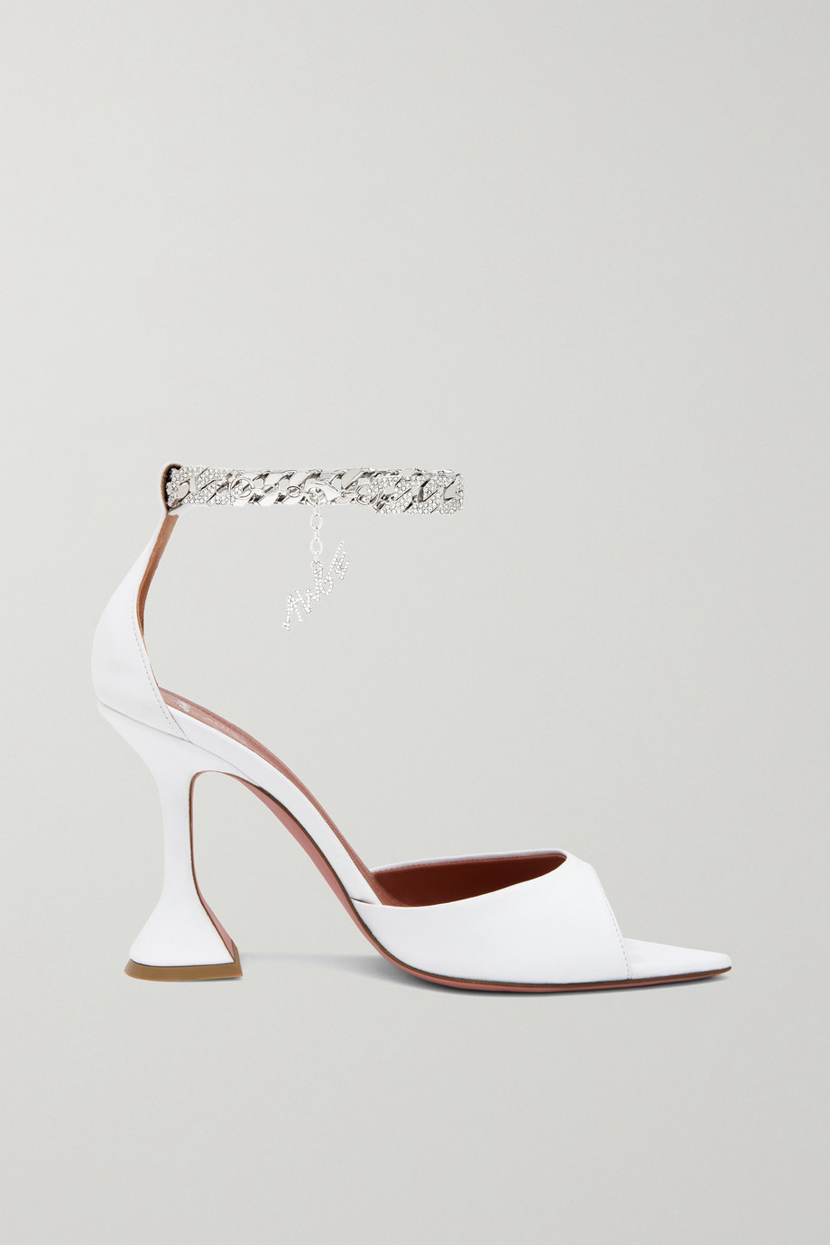 Amina Muaddi + AWGE Flacko chain-embellished leather sandals