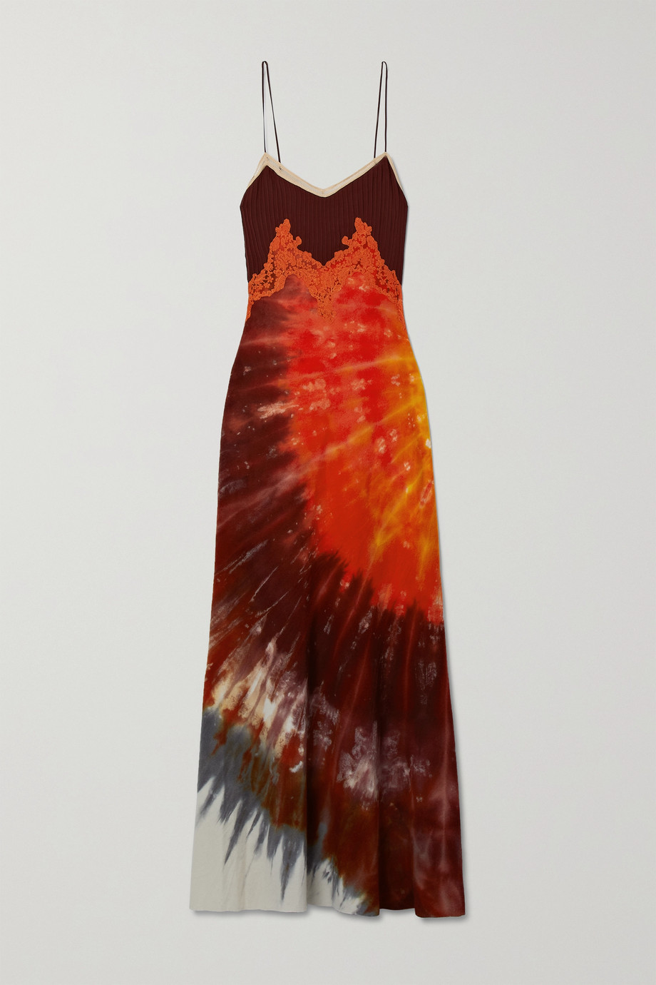 Gabriela Hearst Adolphine lace-trimmed tie-dyed cashmere and silk maxi dress