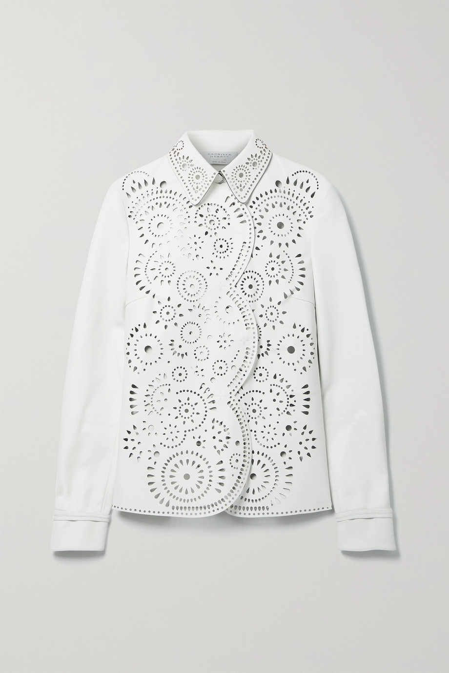 Gabriela Hearst Marianne laser-cut leather shirt