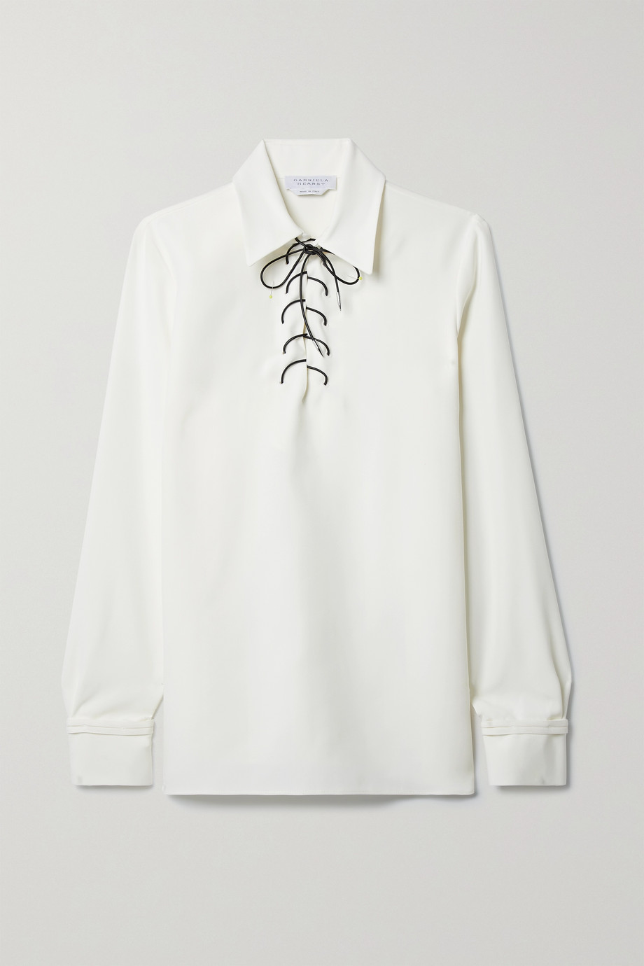Gabriela Hearst Blair lace-up silk and wool-blend blouse