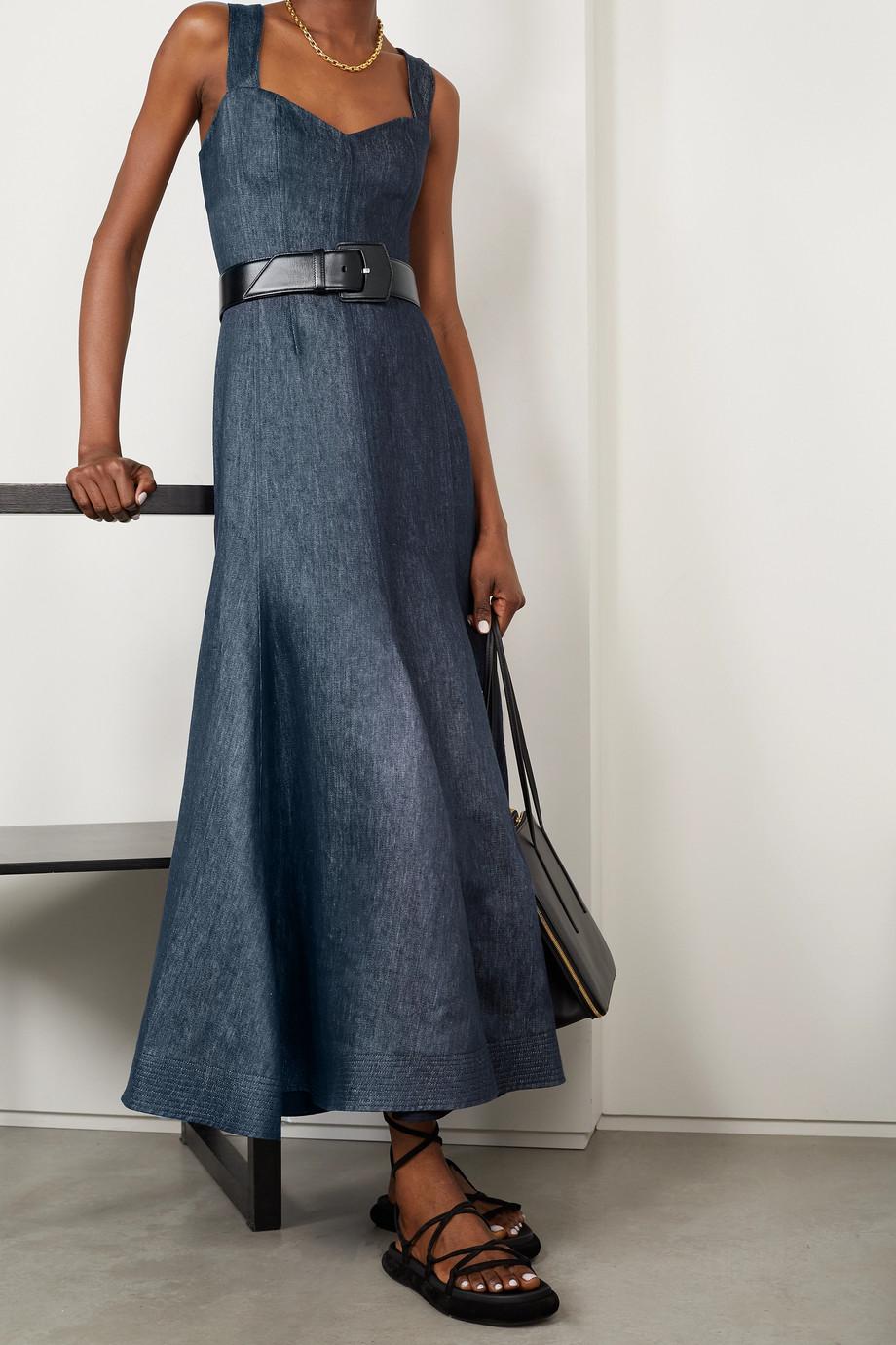 Gabriela Hearst Virginia Kleid aus Leinen-Chambray mit Rückenausschnitt