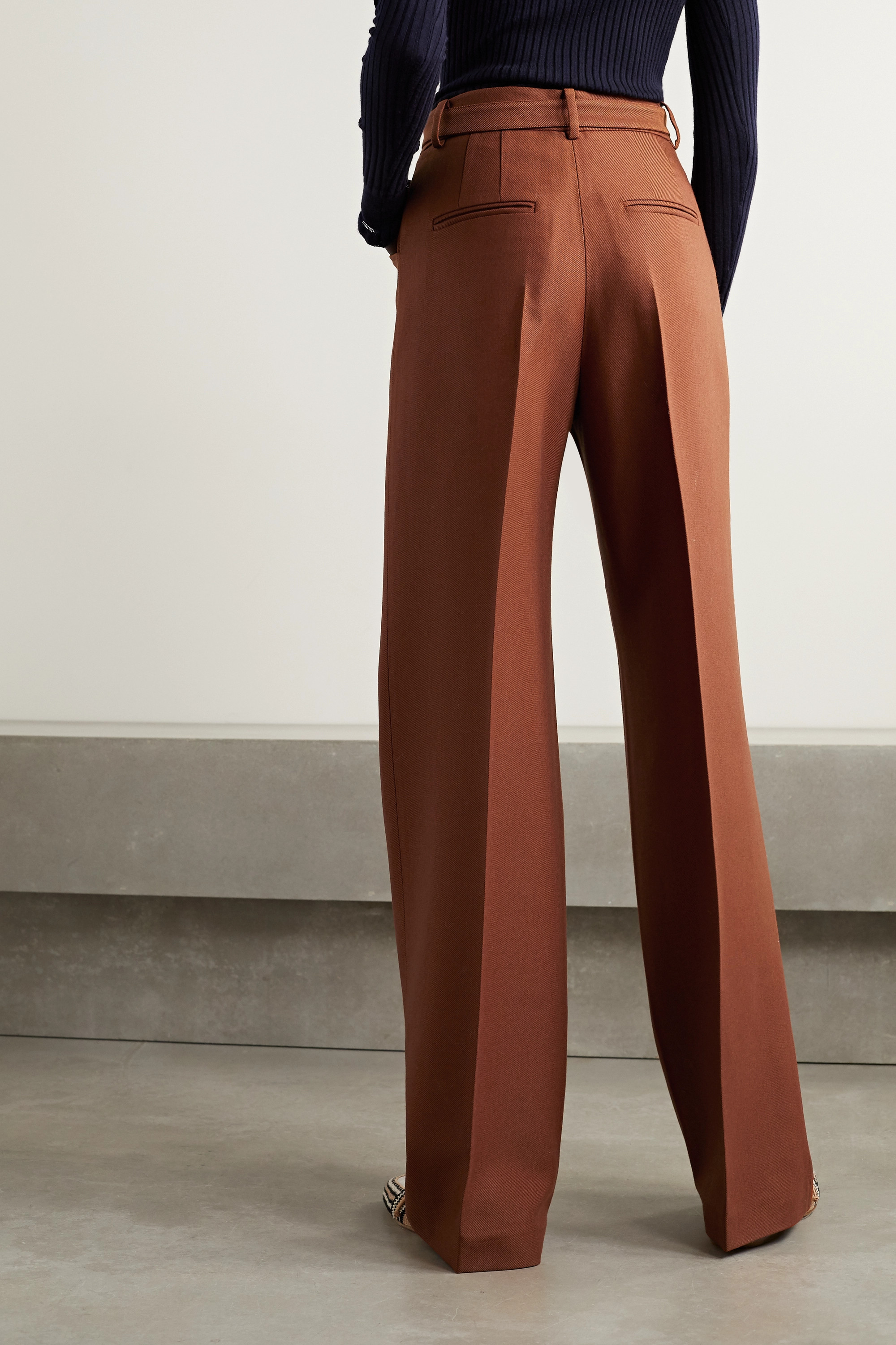 Gabriela Hearst Norman belted wool and silk-blend twill wide-leg pants