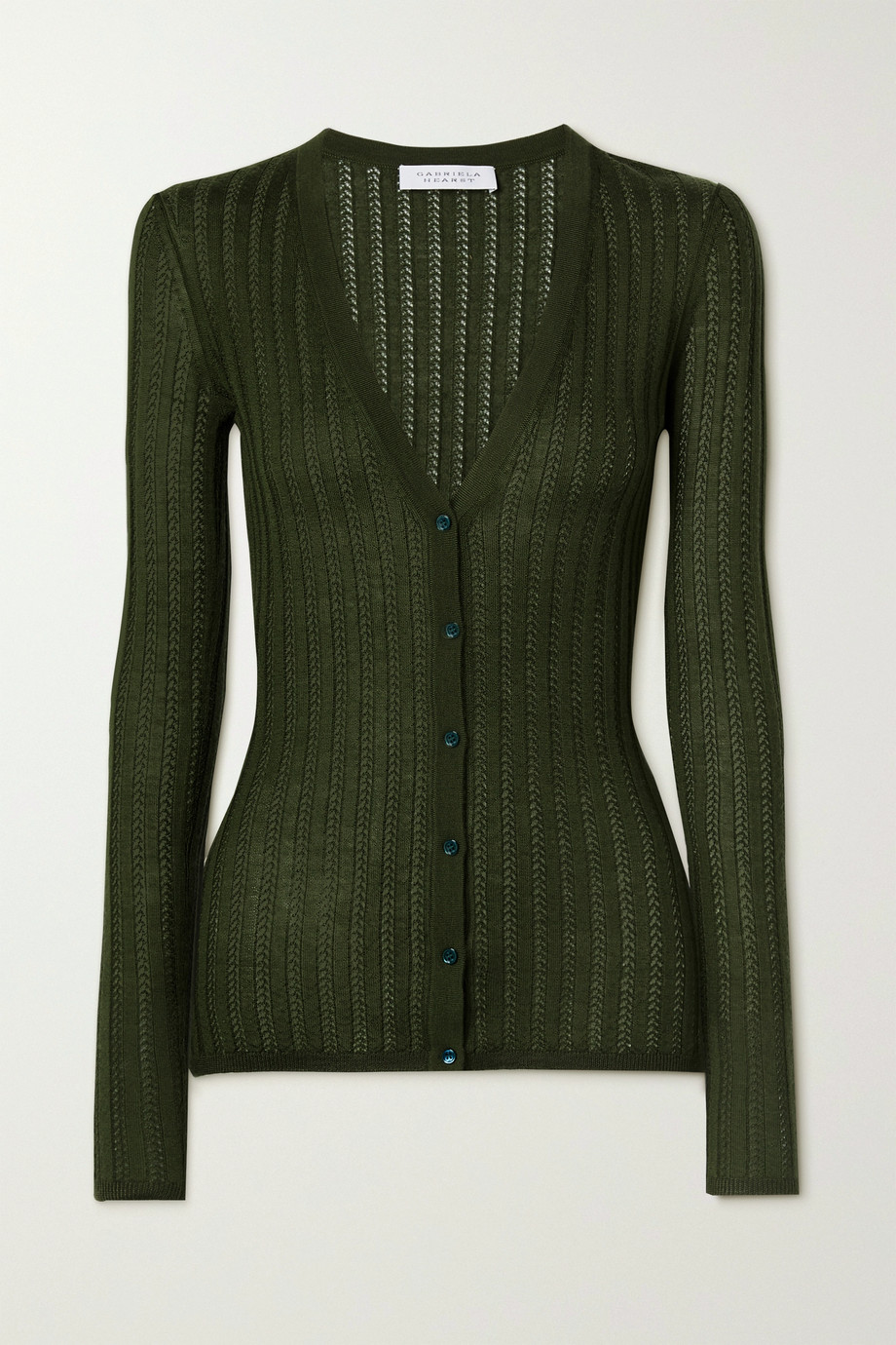 Gabriela Hearst Homer pointelle-knit cashmere and silk-blend cardigan