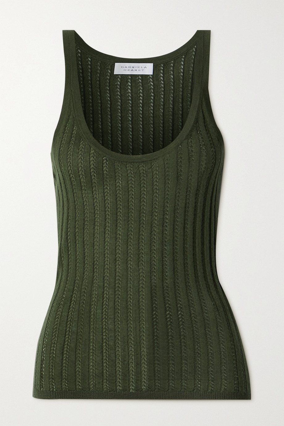 Gabriela Hearst Nevin pointelle-knit cashmere and silk-blend tank