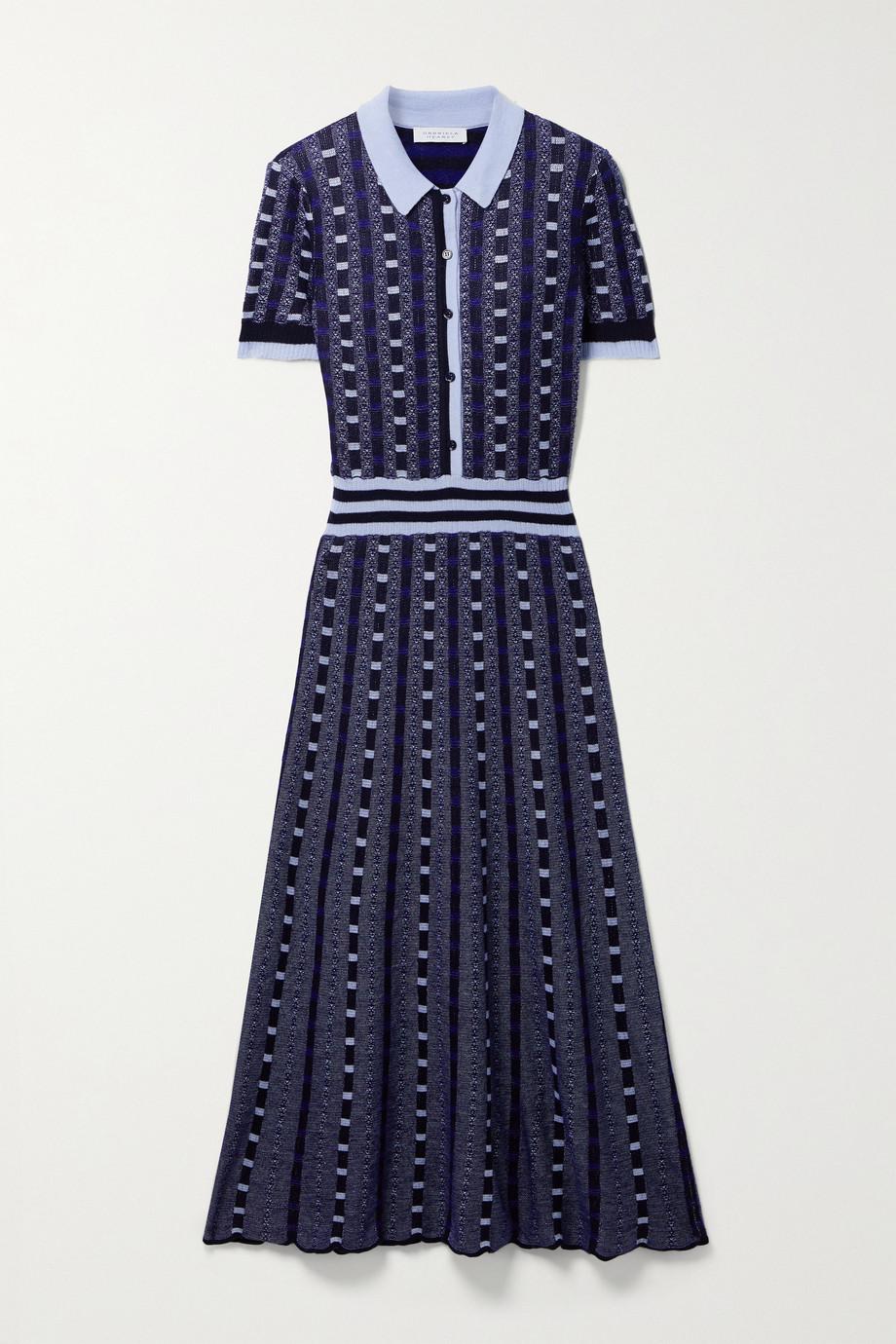 Gabriela Hearst Elvis Hemdblusenkleid aus Jacquard-Strick aus einer Kaschmir-Seidenmischung