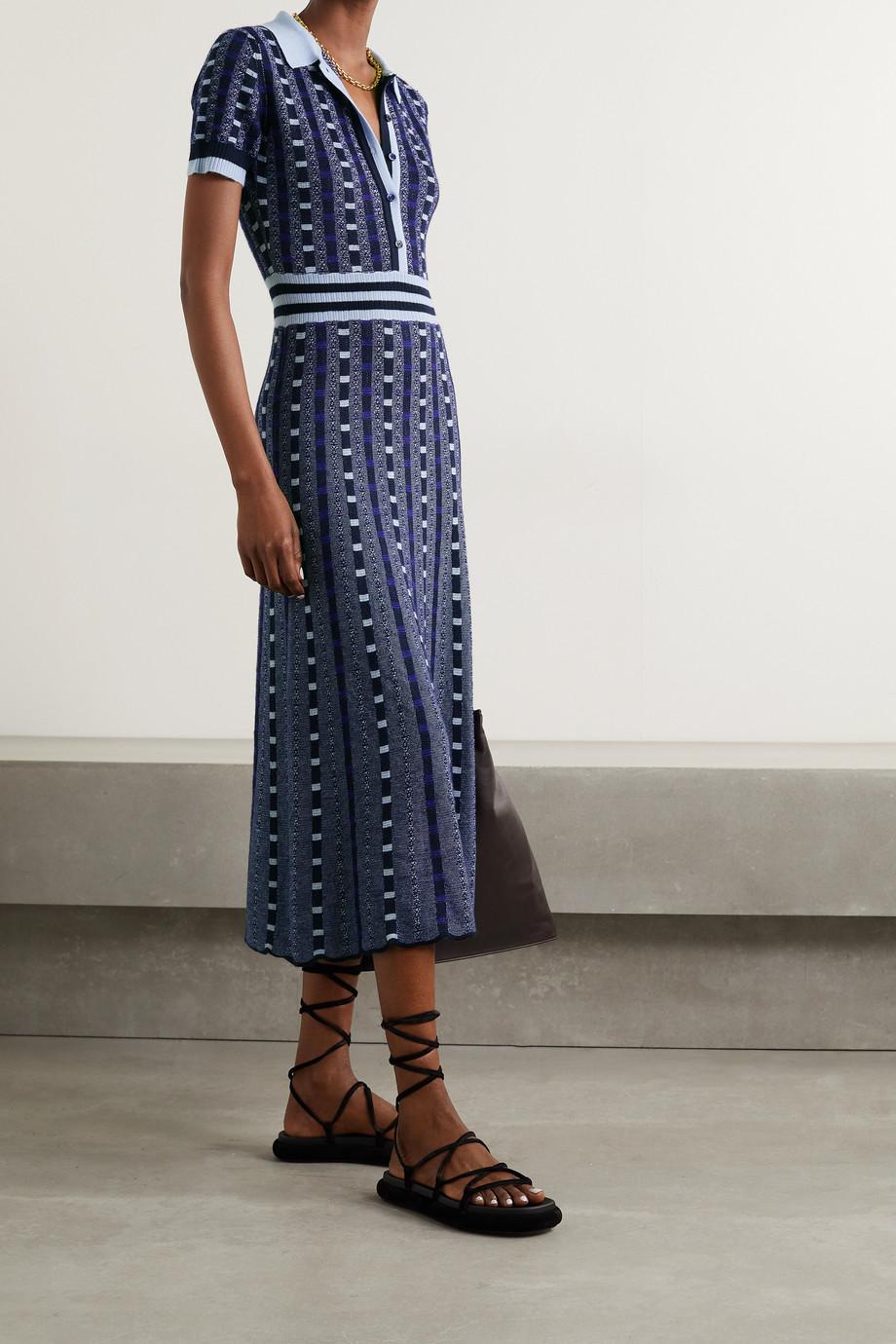 Gabriela Hearst Elvis jacquard-knit cashmere and silk-blend shirt dress