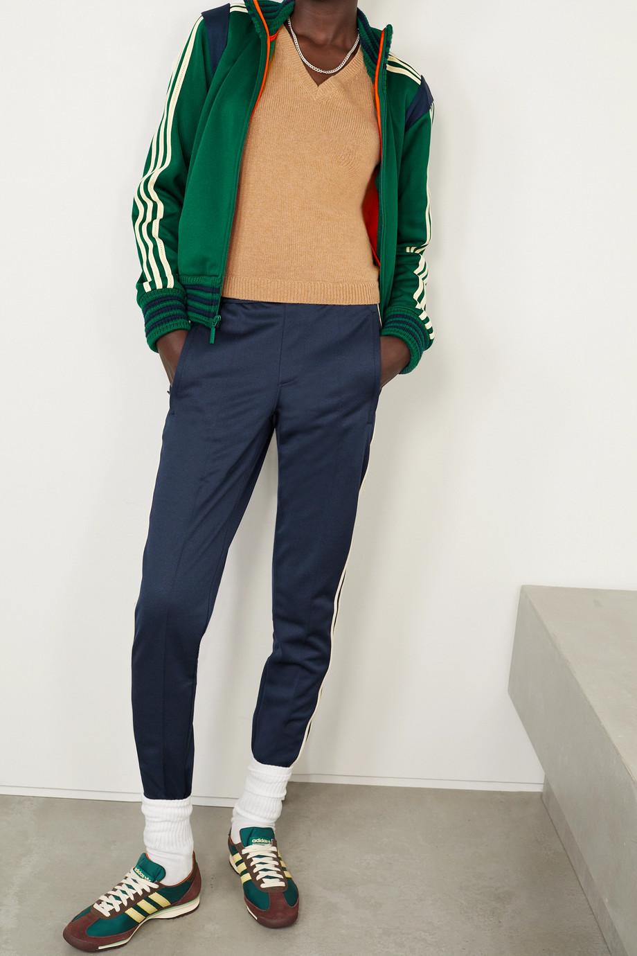 adidas Originals + Wales Bonner Lovers Rock crochet-trimmed tech-jersey slim-leg stirrup pants