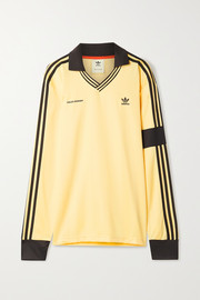 adidas Originals + Wales Bonner crochet-trimmed striped satin-piqué polo shirt