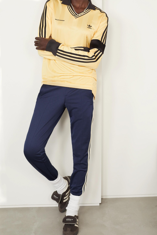 adidas Originals x Wales Bonner 钩编边饰条纹缎面珠地布 Polo 衫
