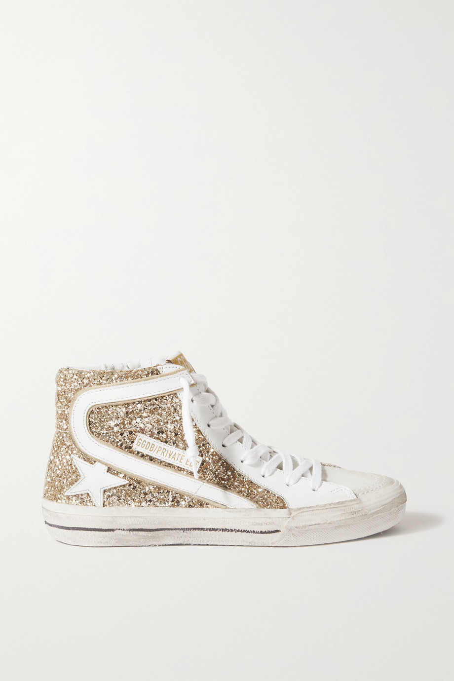Golden Goose Slide distressed glittered leather high-top sneakers