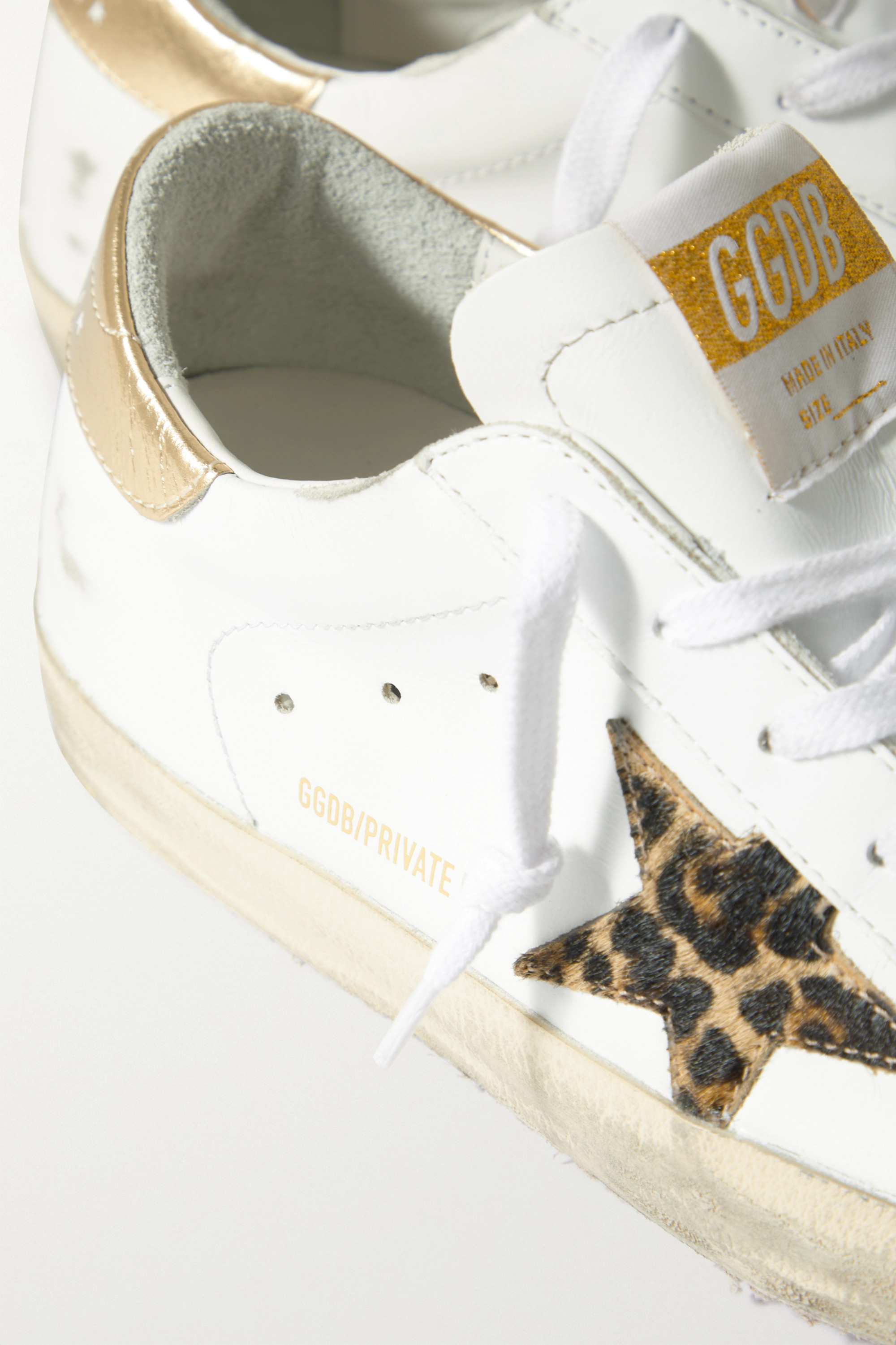Golden Goose Superstar distressed leopard-print calf hair-trimmed leather sneakers