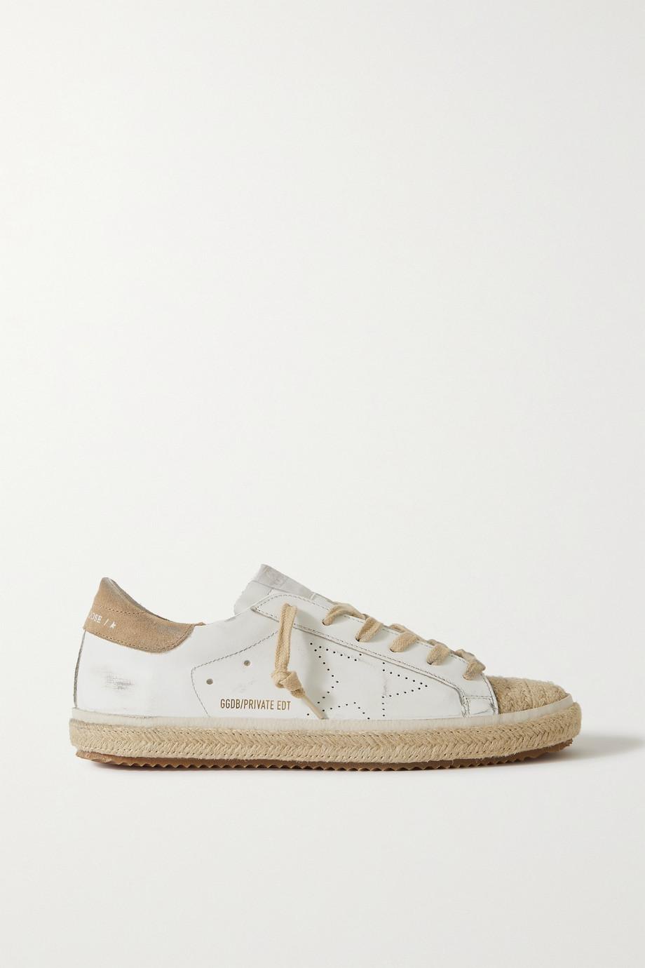 Golden Goose Superstar distressed suede-trimmed leather espadrille sneakers