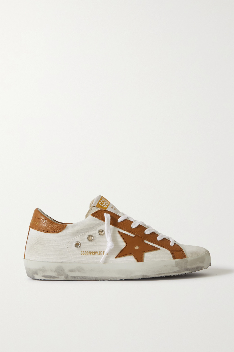 Golden Goose Superstar distressed textured leather-trimmed canvas sneakers