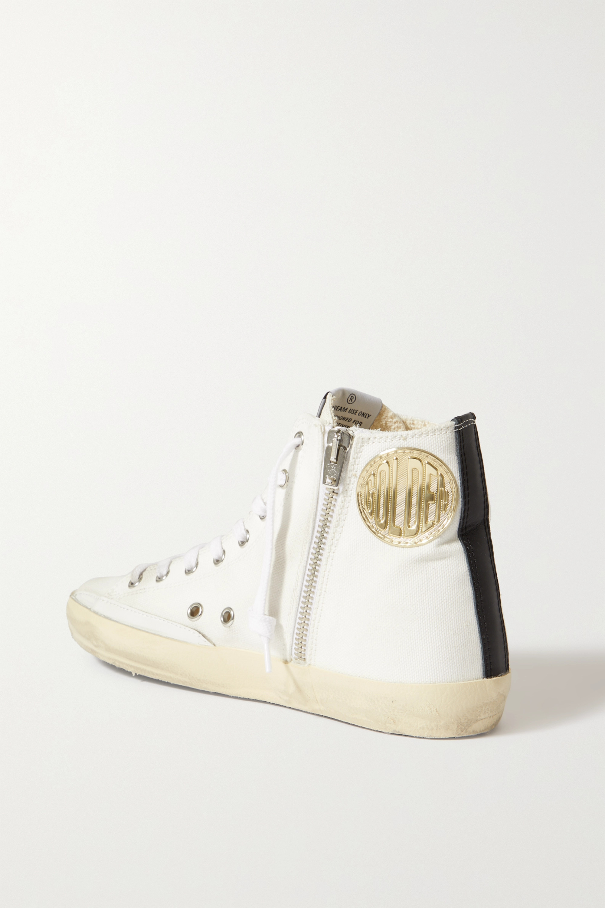 Golden Goose Slide distressed metallic leather-trimmed canvas high-top sneakers