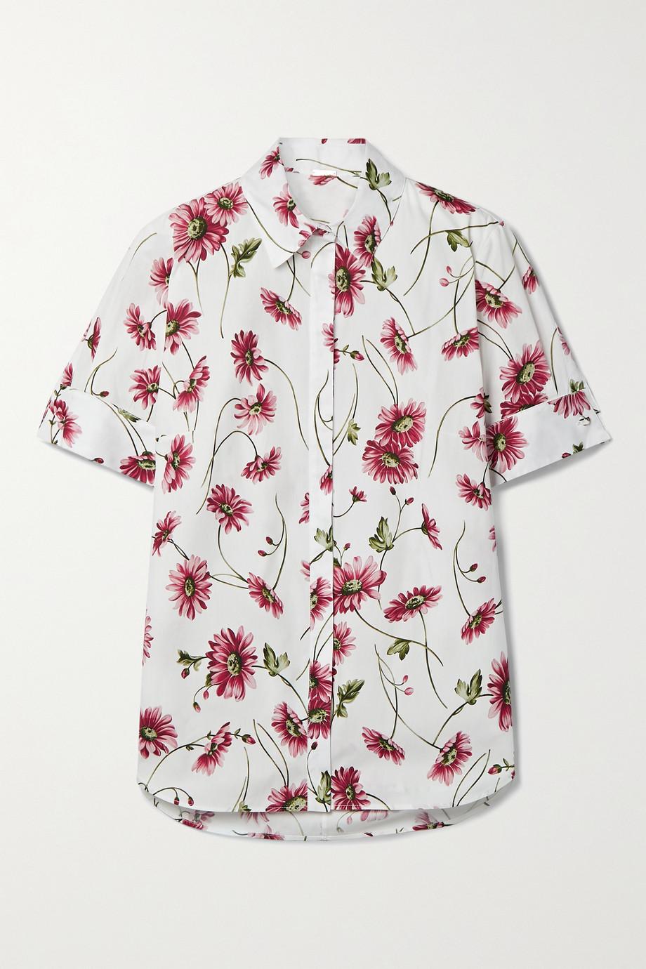 Adam Lippes Floral-print cotton-poplin shirt
