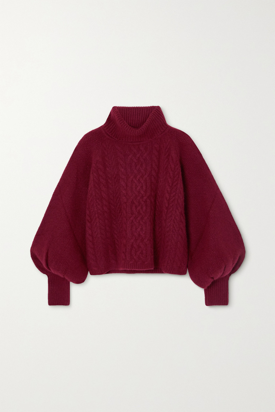 Adam Lippes Cropped cable-knit cashmere and silk-blend turtleneck sweater