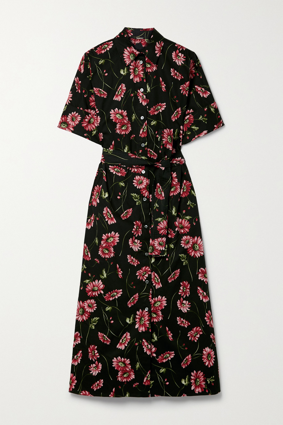 Adam Lippes Floral-print cotton-poplin midi shirt dress