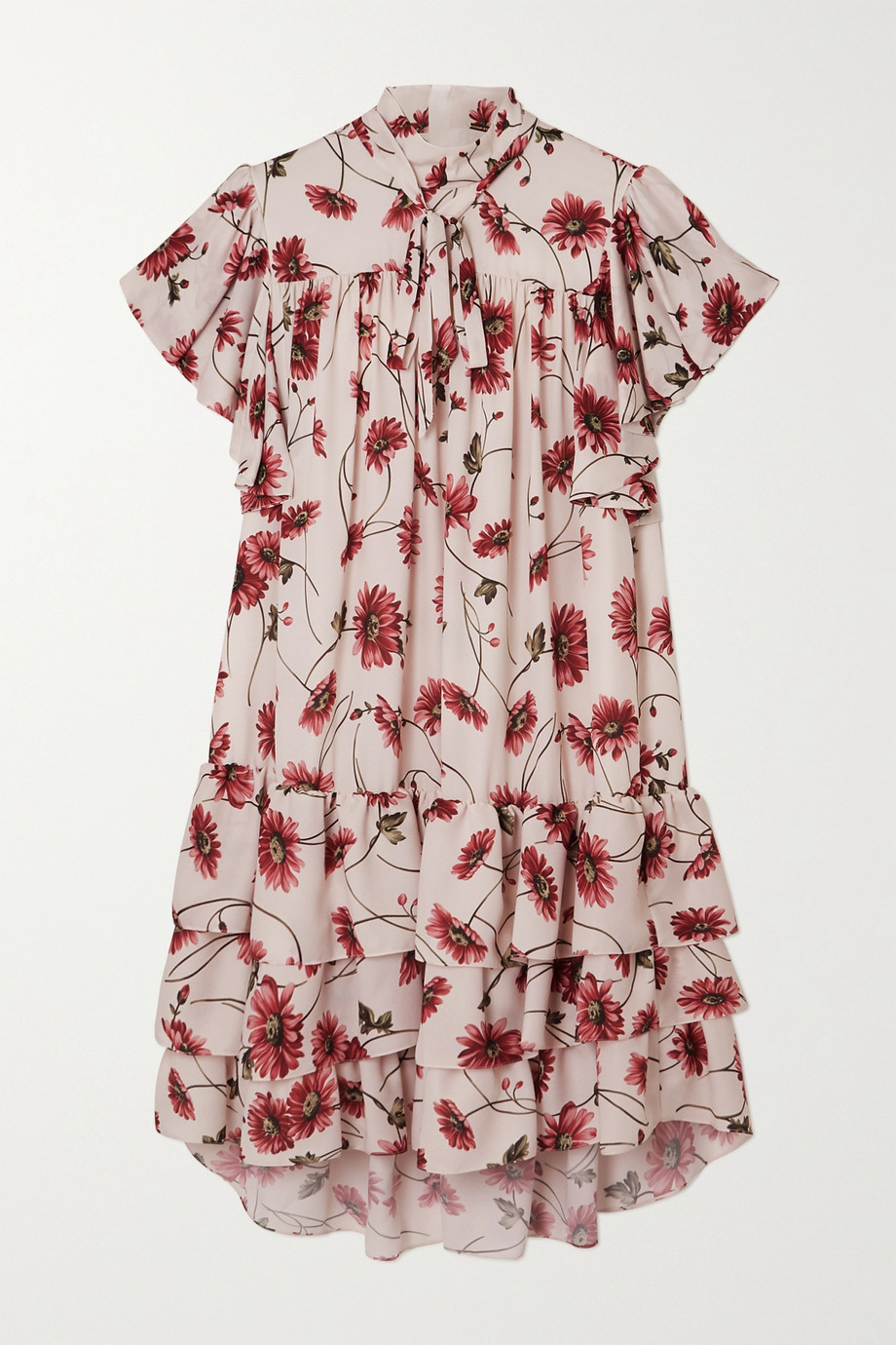 Adam Lippes Pussy-bow tiered floral-print crepe de chine mini dress