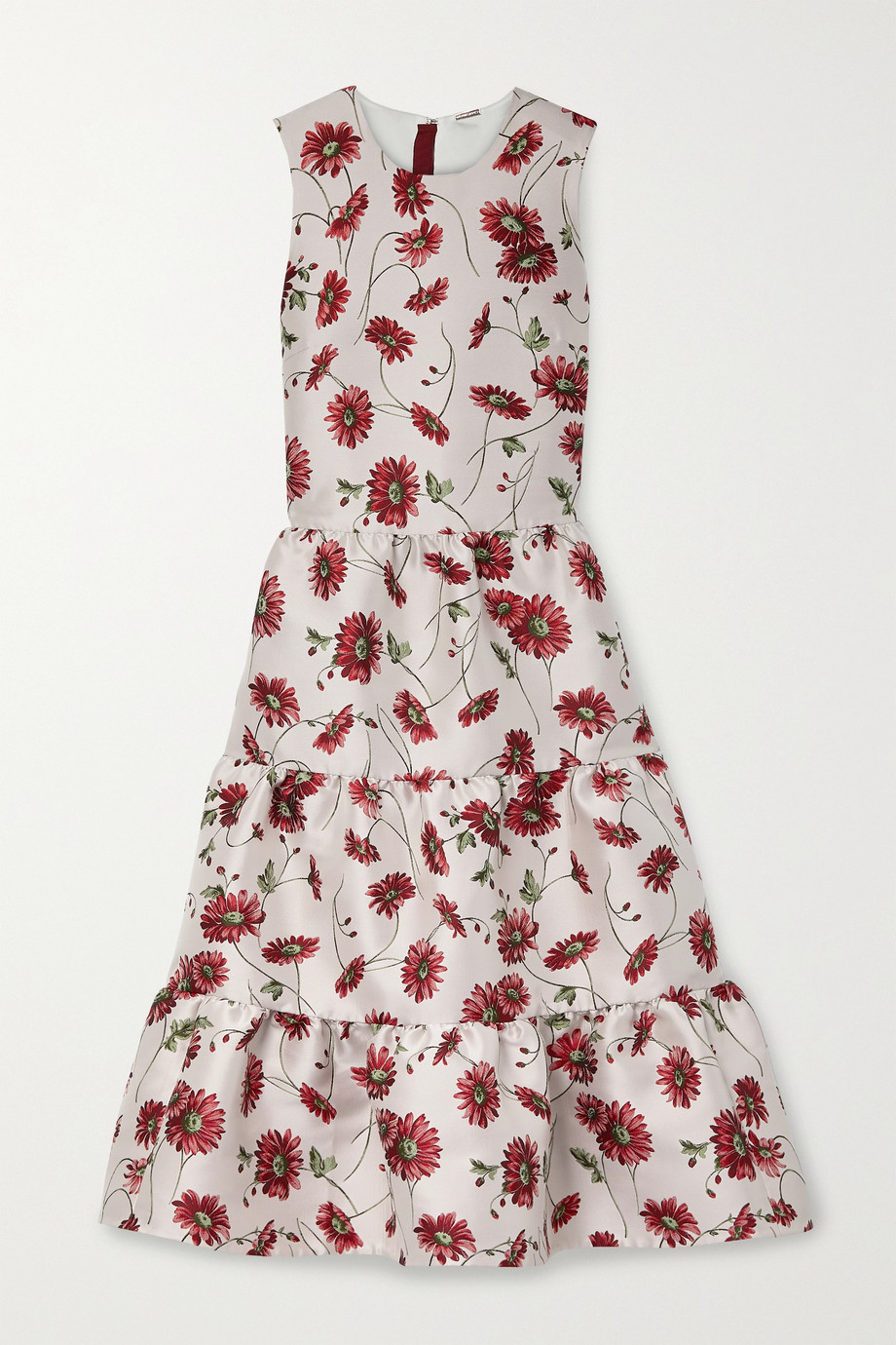 Adam Lippes Tiered floral-print satin-jacquard midi dress