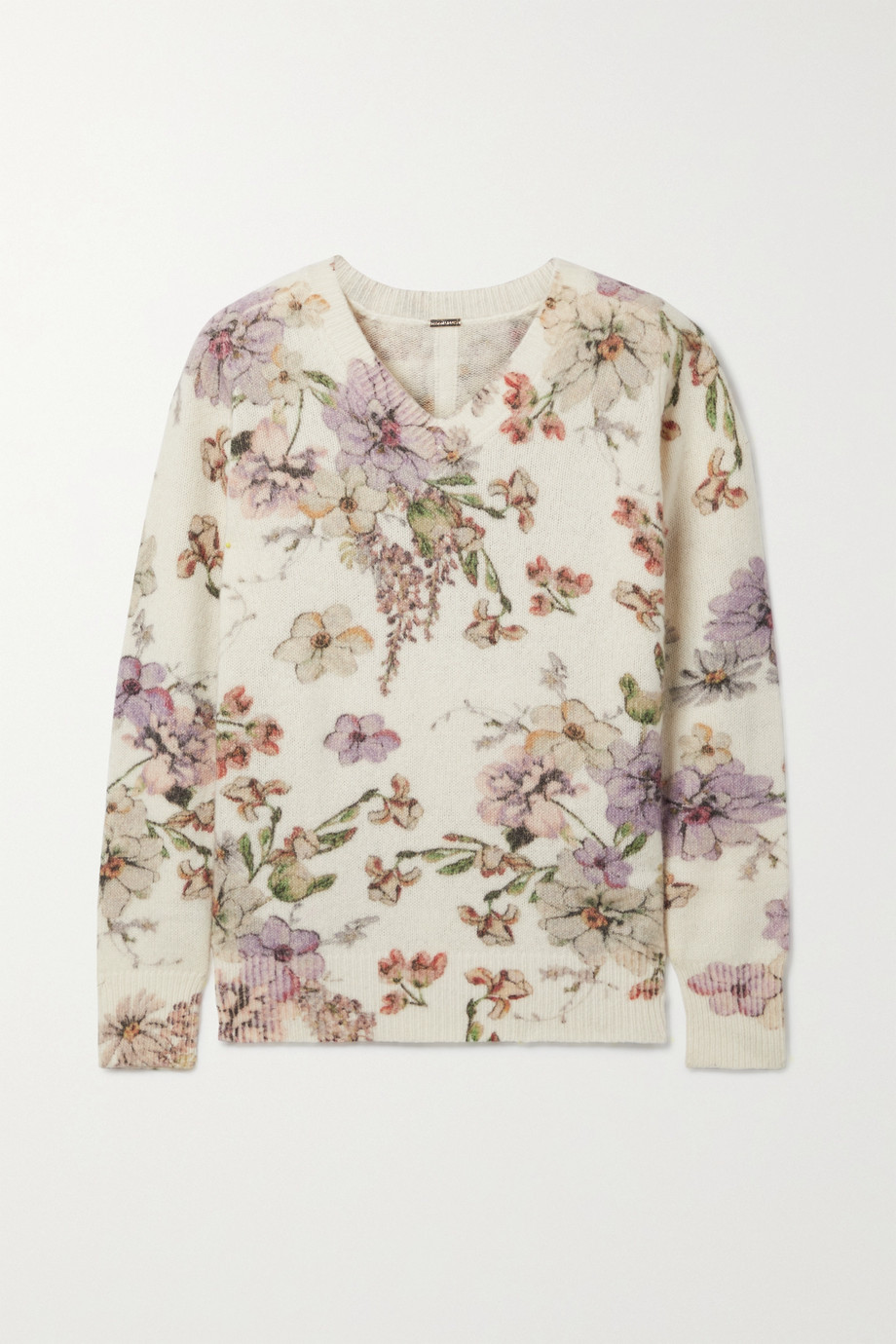 Adam Lippes Floral-print cashmere and silk-blend sweater