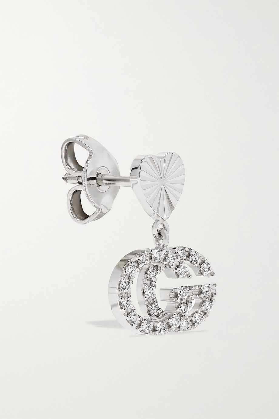 Gucci GG Running 18-karat white gold diamond earrings