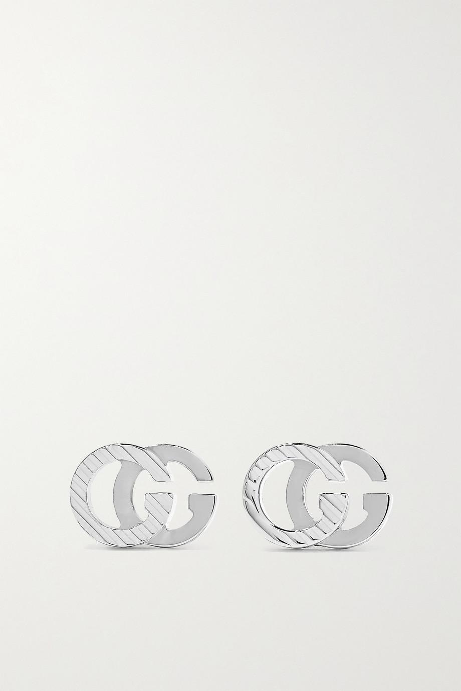 Gucci GG Running 18-karat white gold earrings