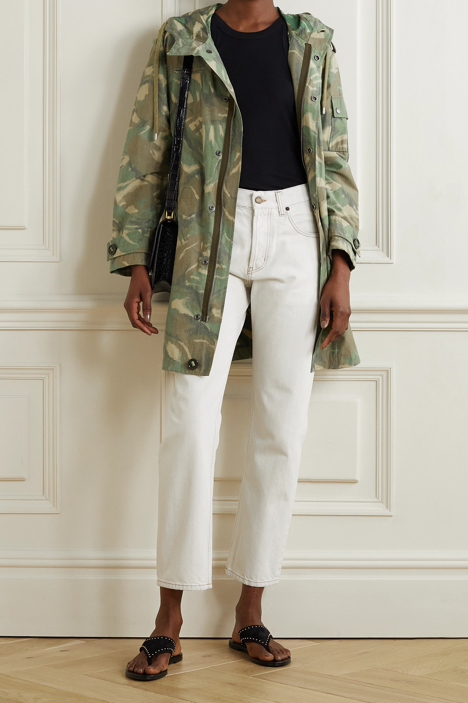 SAINT LAURENT Hooded camouflage-print cotton-blend parka