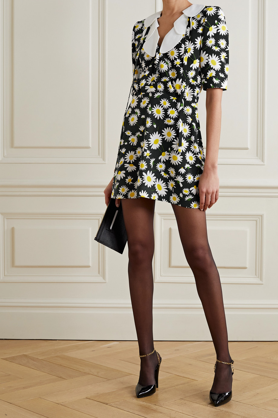 SAINT LAURENT Ruffled floral-print crepe mini dress