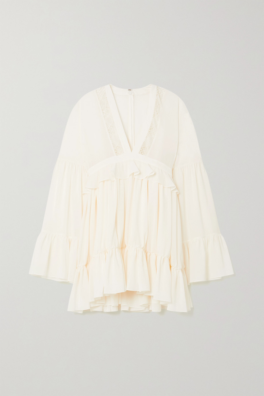 SAINT LAURENT Ruffled lace-paneled silk crepe de chine mini dress