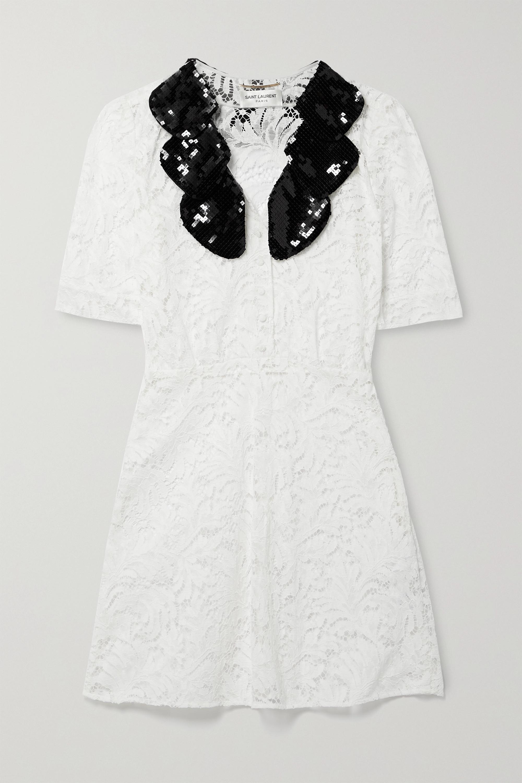 SAINT LAURENT Mini-robe en dentelle cordonnet de coton mélangé à finitions en soie à sequins