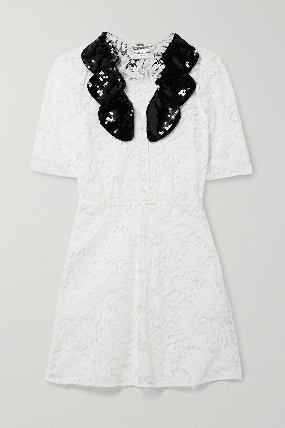 SAINT LAURENT Minikleid aus schnurgebundener Spitze aus einer Baumwollmischung mit Pailletten und Seidenbesätzen