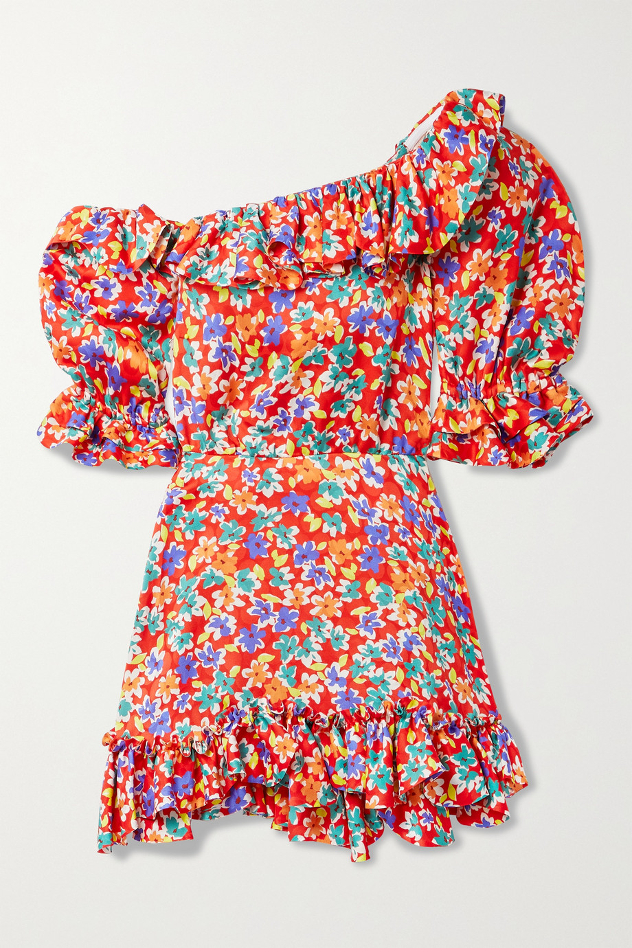 SAINT LAURENT Minikleid aus glänzendem Seiden-Jacquard mit Blumenprint, Rüschen und asymmetrischer Schulterpartie