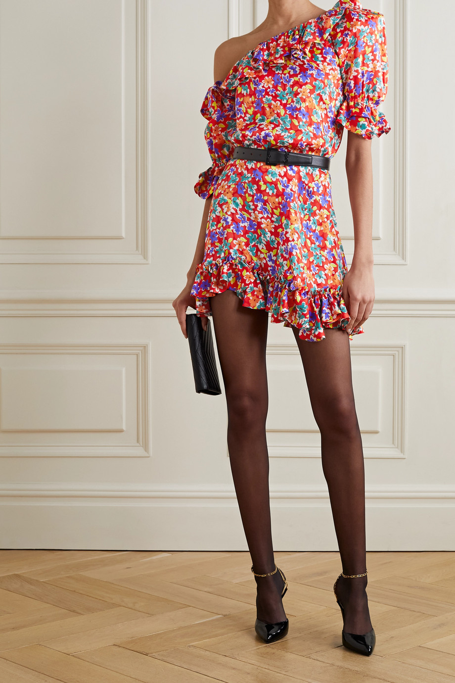 SAINT LAURENT Mini-robe asymétrique en jacquard de soie satinée à imprimé fleuri et à volants
