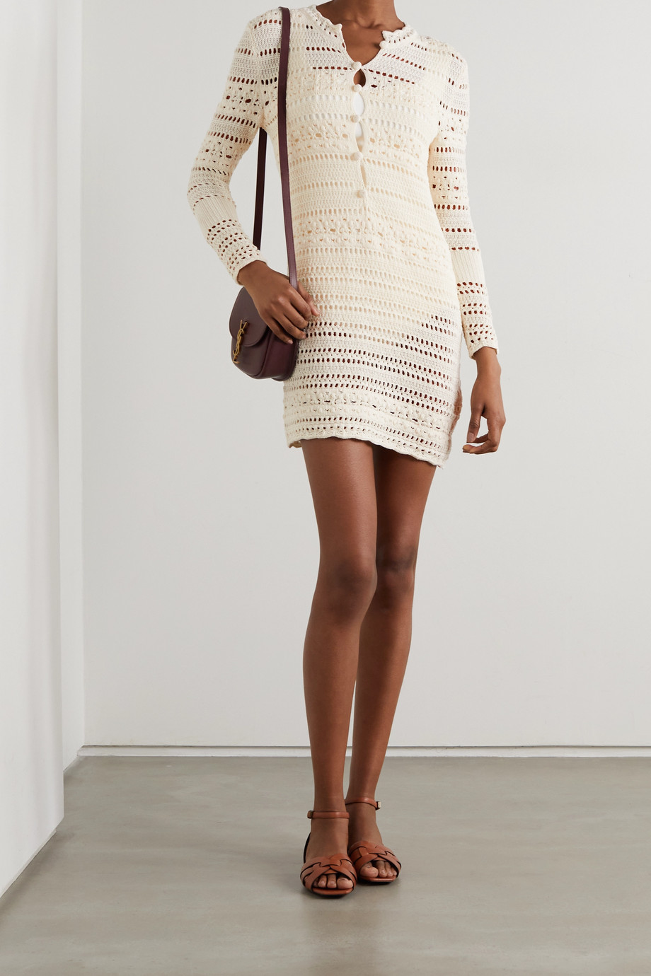 SAINT LAURENT Crocheted cotton mini dress