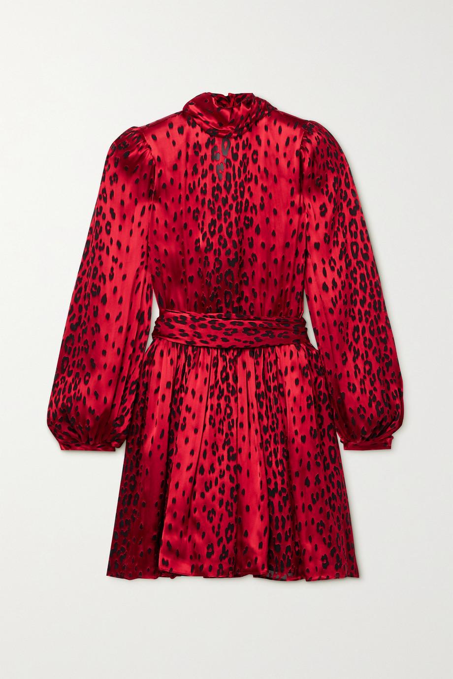 SAINT LAURENT Belted devoré-satin mini dress