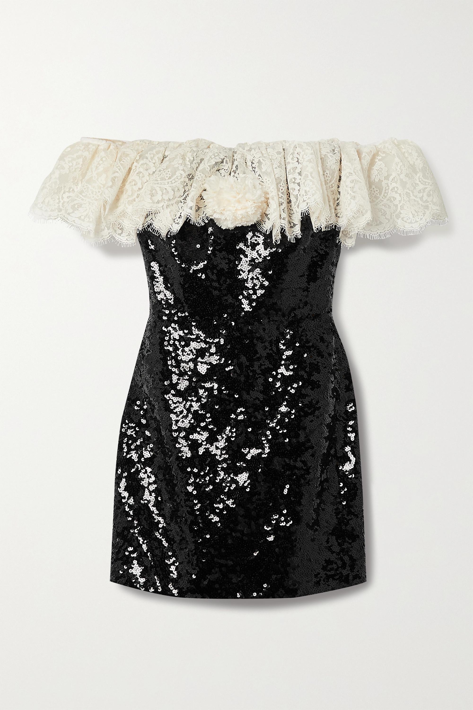 SAINT LAURENT Schulterfreies Minikleid aus Crêpe mit Pailletten und Spitzenbesatz