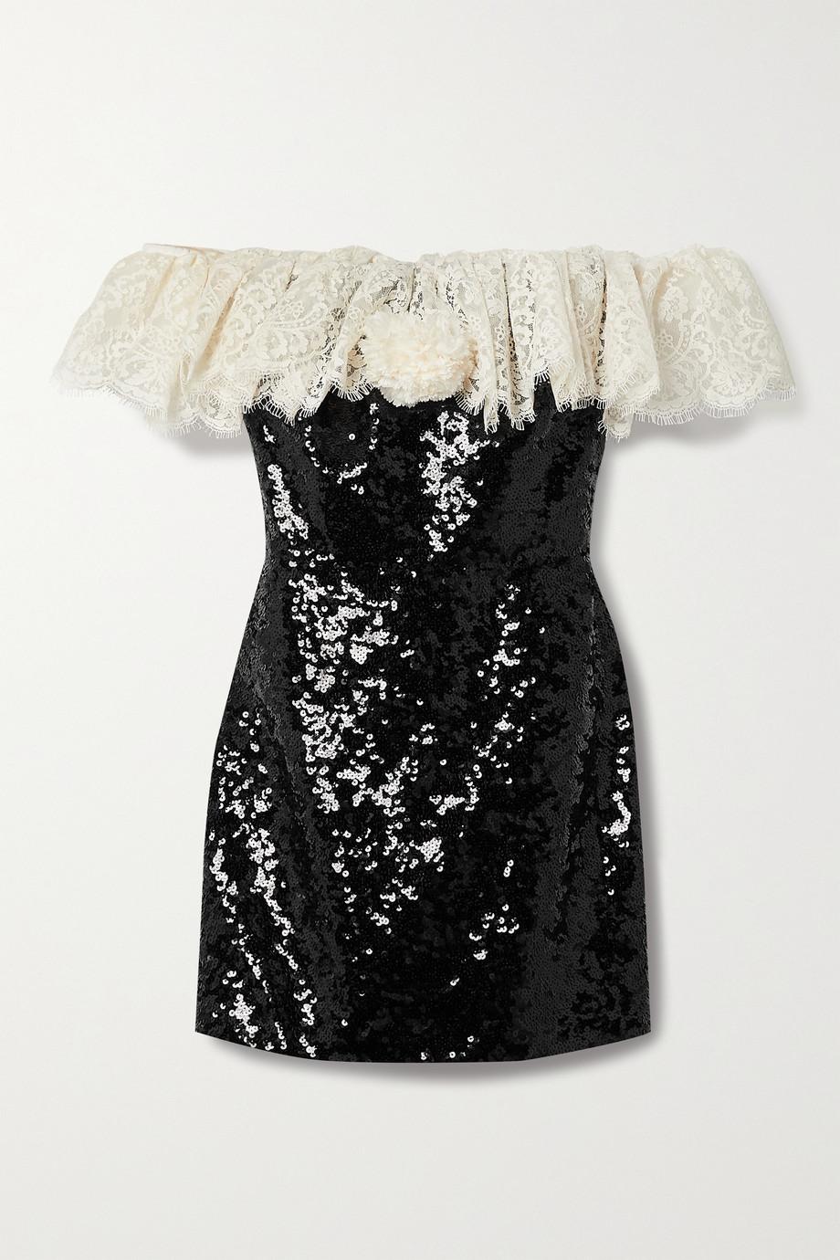 SAINT LAURENT Off-the-shoulder lace-trimmed sequined crepe mini dress