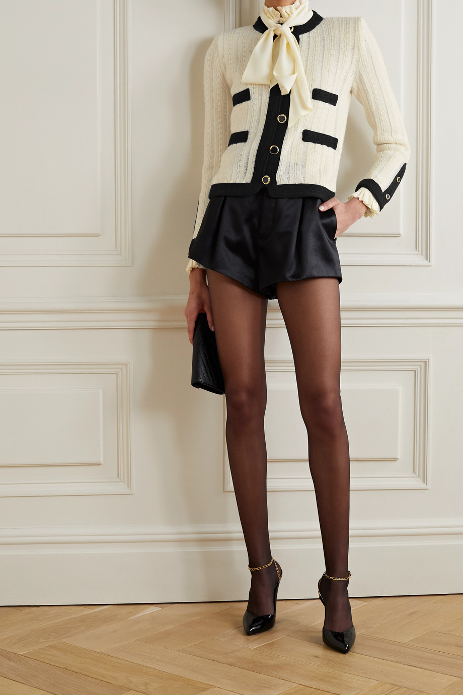 SAINT LAURENT Zweifarbige Jacke aus gerippter Wolle