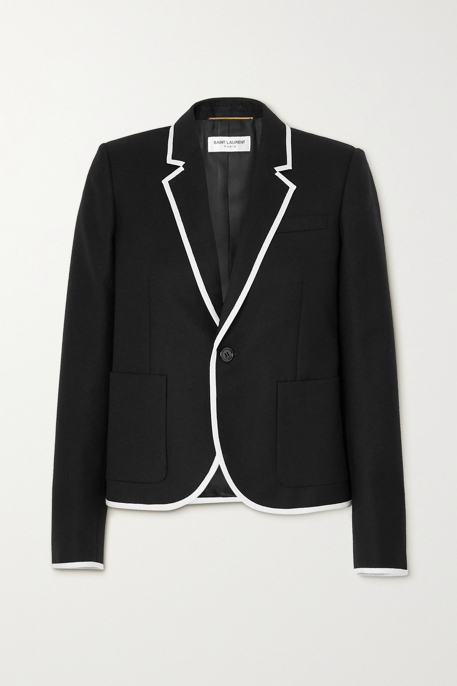 SAINT LAURENT Piped wool blazer