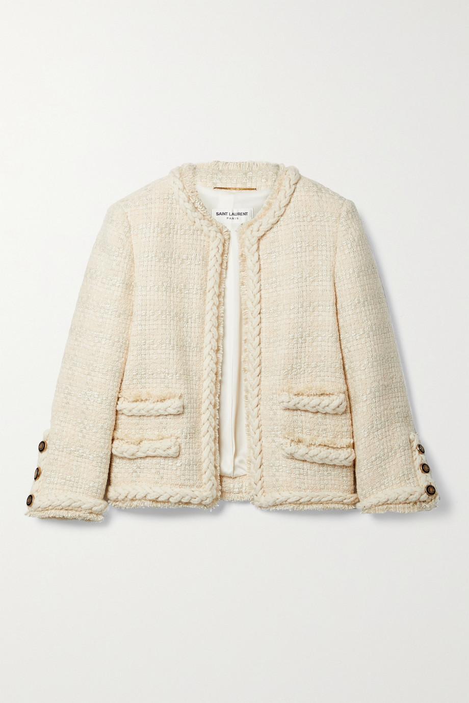 SAINT LAURENT Verkürzte Tweed-Jacke aus einer Wollmischung