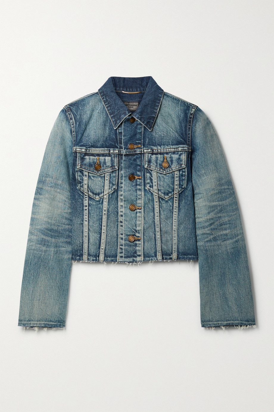 SAINT LAURENT Verkürzte Jeansjacke in Distressed-Optik