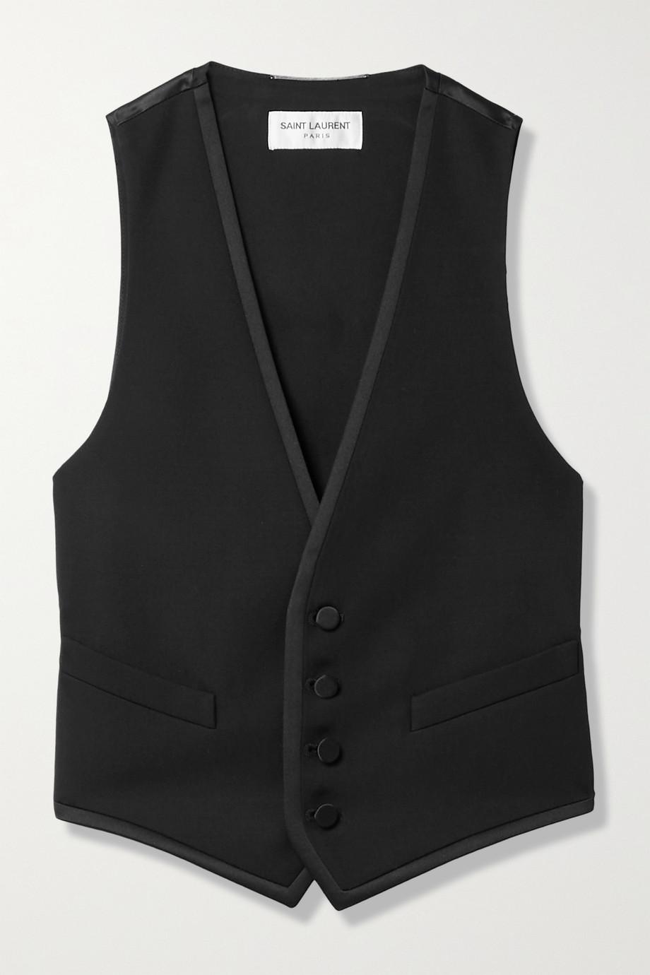 SAINT LAURENT Cropped grain de poudre wool and silk-satin vest