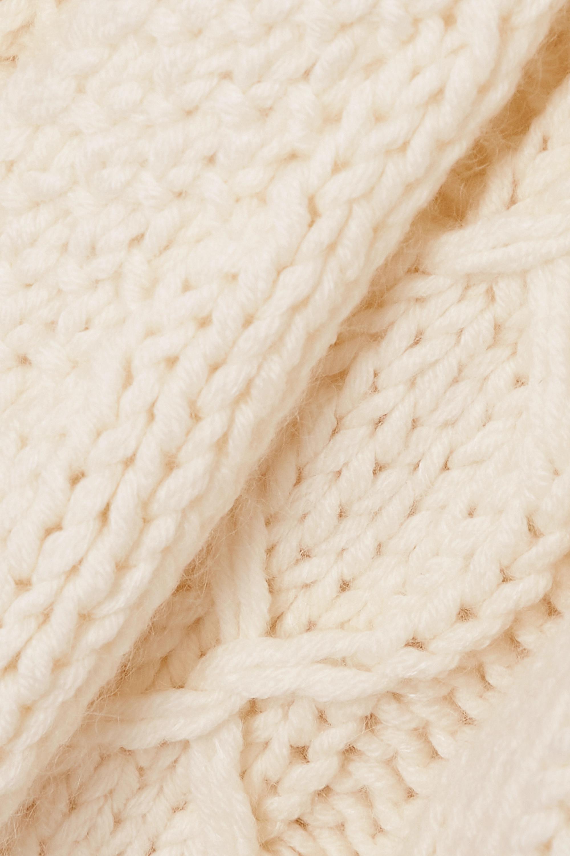 SAINT LAURENT Cardigan aus einer Wollmischung in Zopfstrick mit Kapuze